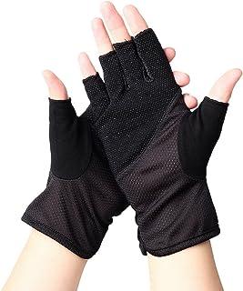 UVカット手袋 指なし 手袋 紫外線をしっかりガード 清涼メッシュ通気孔 運転 自転車 手を守る 滑り止め シンプル ブラック