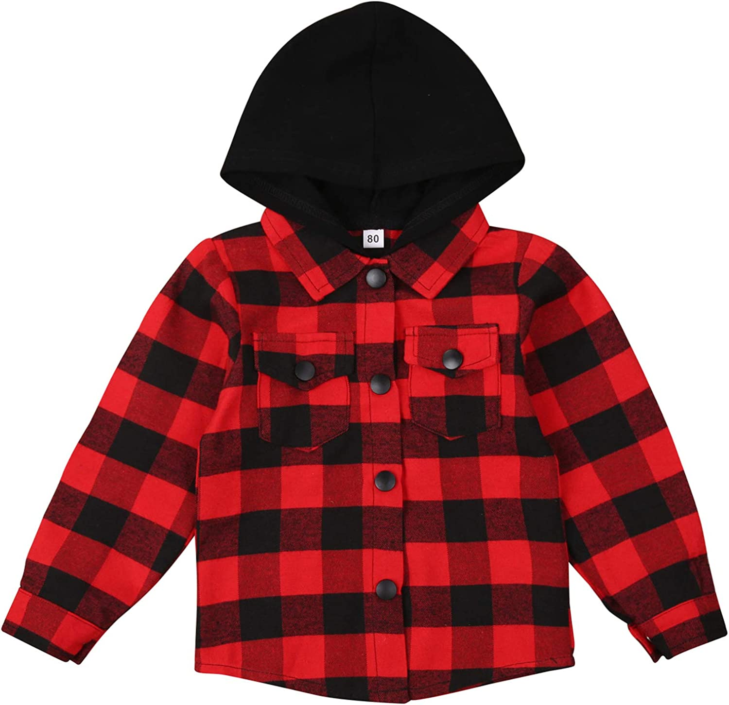 goowrom Toddler Baby Boys Button Hoodie Shirt Infant Spring Fall Winter Thin Outerwear