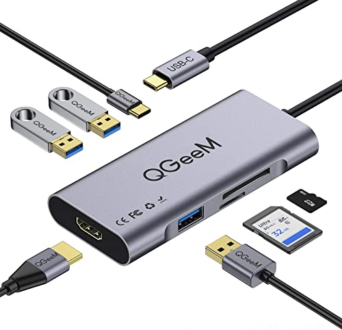 USB C Hub HDMI Adapter,QGeeM 7 in 1 Type C Hub to HDMI 4k,3 USB 3.0 Ports,100W Power Delivery,SD/TF Card Readers Comp...