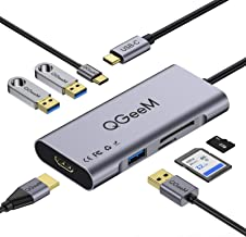 USB C Hub HDMI Adapter,QGeeM 7 in 1 Type C Hub to HDMI 4k,3 USB 3.0 Ports,100W Power Delivery,SD/TF Card Readers Compatibl...