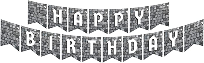 Cobblestone Jointed Banners, Medieval Party Supplies, Cobblestone Birthday Banner, Party Decorations, Hanging Room Decorat...
