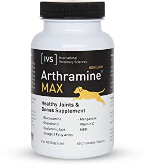 International Veterinary Sciences IVS Arthramine MAX Healthy Joints Glucosamine Supplement for Dogs with Fish Oil, Hyaluro...