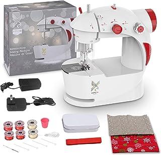 KPCB Kids Sewing Machine with DIY Christmas Bag Material (Red) (Renewed)