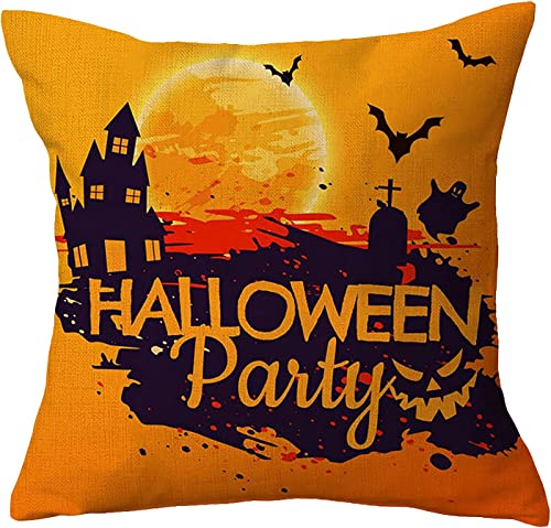 new arrival Throw Pillow Cover Happy Halloween Linen Square Pillowcases online outlet sale Modern Cushion Cover Halloween Home Decor 18 X 18 Inch (Style D) outlet online sale