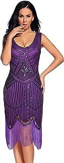 Flapper Girl Women's Vintage 1920s Sequin Beaded Tassels Hem Flapper Dress