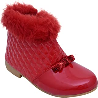 D'chica Deep Red Fur Trimmings Boots for Girls