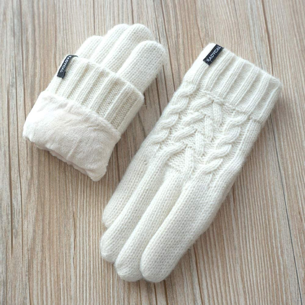 Jamkf Autumn and Winter Women's Wool Yarn Knitting Twisted Double-Layer Thickening Plus Velvet Touch Screen Warm Gloves