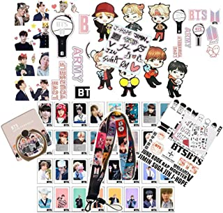 BTS Gifts Set for Army, 32PCS BTS Lomo Card + 1 BTS Phone Ring Holder + 4 BTS 3D Stickers + 1 BTS Lanyard + 3 BTS Tattoo S...
