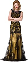 MisShow Women's Sleeveless Illusion Embroidery Mermaid Prom Formal Gown