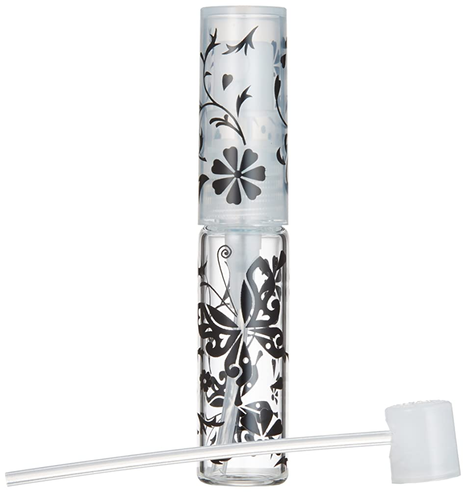 シャーロットブロンテ真鍮シロクマ50138 【ヤマダアトマイザー】グラスアトマイザー プラスチックポンプ 柄 バタフライ ブラック