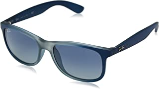 RAY-BAN RB4202 Andy Rectangular Sunglasses, Blue On Rubber Light Grey/Blue Gradient, 55 mm