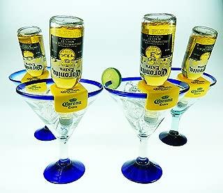 Mexican Glass Margarita Blue Rim 20 Oz with Coronarita Clips Corona Beer Holders (set of 4)
