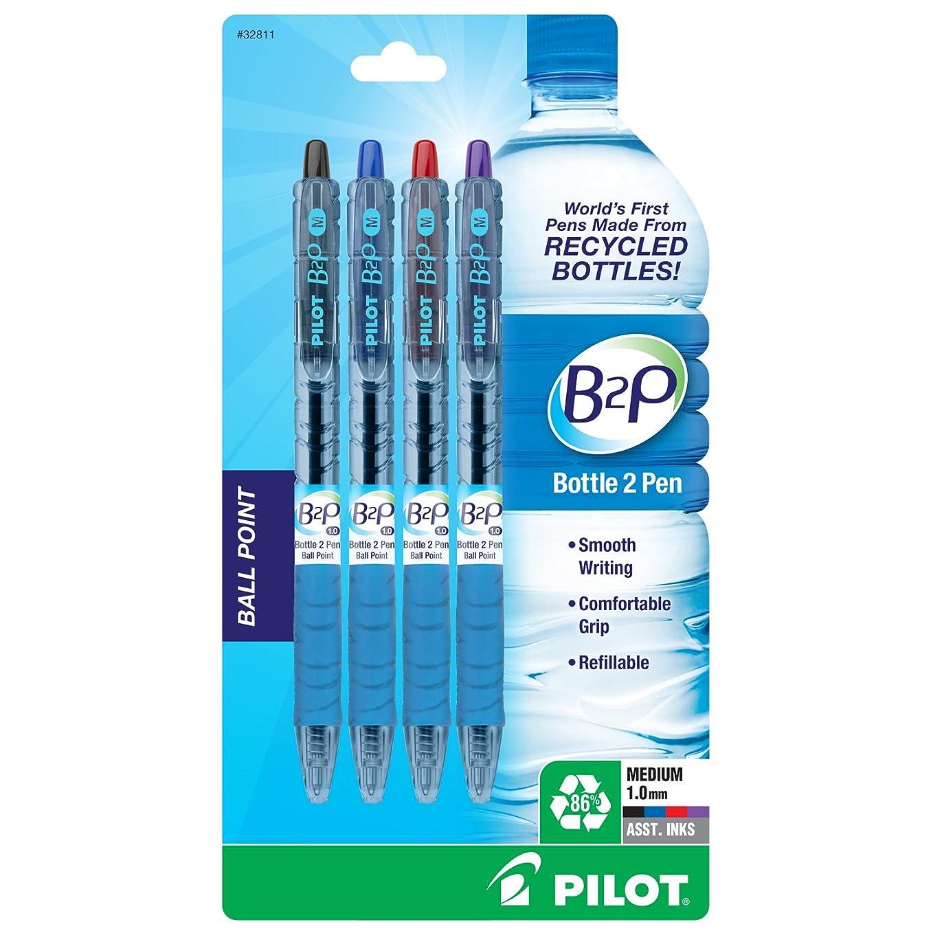 神経障害エラーデモンストレーションB2P Recycled Ballpoint Pen, Assorted Ink, 4/Pk (並行輸入品)