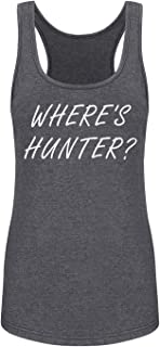 GROWYI Funny Workout Tank Tops Racerback for Women with Saying Where's Hunter Political Fitness Gym Sleeveless Shirt Grey