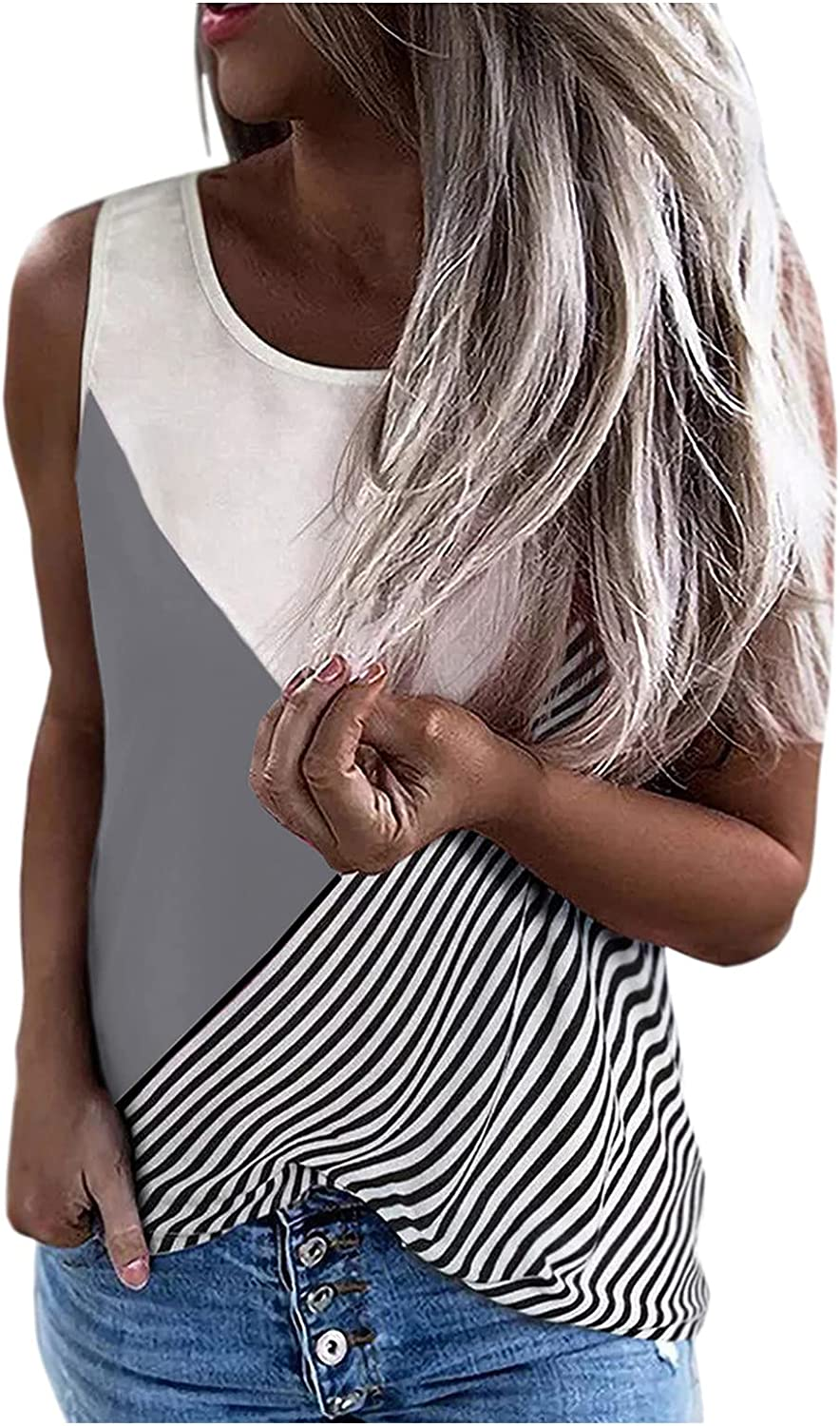 Changeshopping Women Round Neck Tops,Casual Contrast Striped Vest,Summer Loose Sleeveless Shirts Tops.