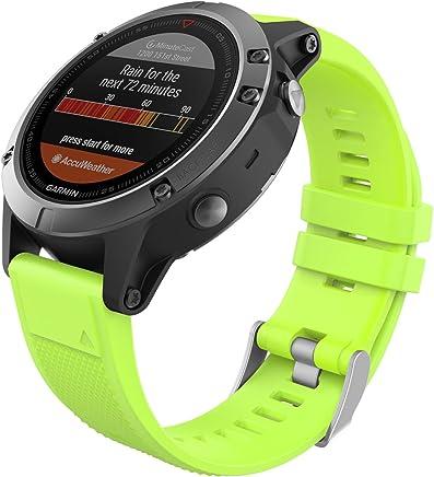 MoKo Garmin Fenix 5 Banda, Silicona Reemplazo Correa con 2pcs Destornilladores para Garmin Garmin Fenix 5/5 Plus/Instinct/Forerunner 935/Approach S60 Smart Watch, no Adapta a Fenix 5x/5s, Verde