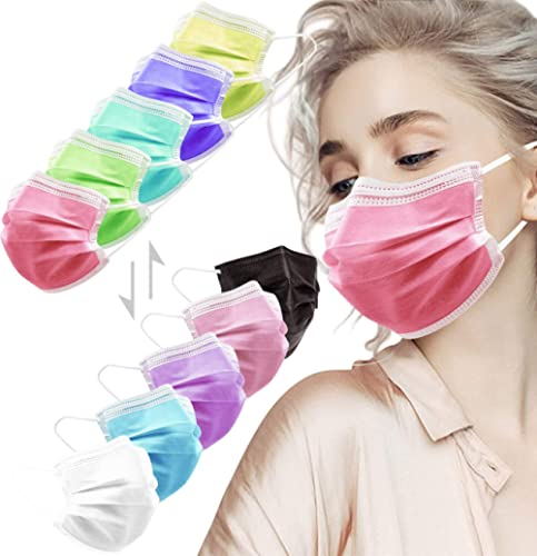 HIWUP Face Masks, 3 Layer Disposable Face Masks with Nose Clip and Ear Loops Multicolored Pack of 50 (5 colors)