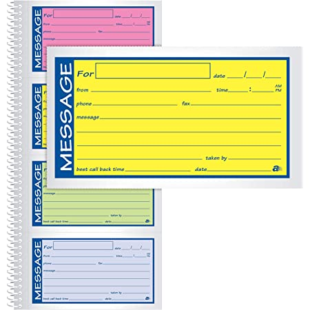 SC1184P 4 Messages Per Page 2-Part 3 Pack Pink//Canary Carbonless 8.25 x 11 Inches Adams Important Message Book 200 Sets Per Book Spiral
