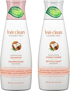 Live Clean Coconut Milk Moisturizing Shampoo and Coconut Milk Moisturizing Conditioner with Certified Organic Coconut Extract and Oil, Petrolatum-free, Phthalate-free and Paraben-free, 12 oz each