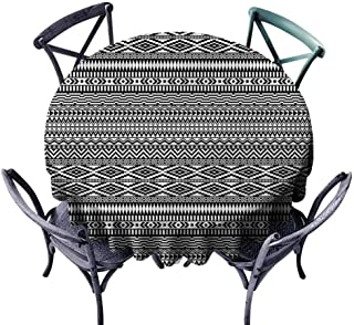 Longbuyer Outdoors Round Tablecloth Afghan,Tribal Shapes Pattern Wrinkle Free Tablecloths Diameter 50