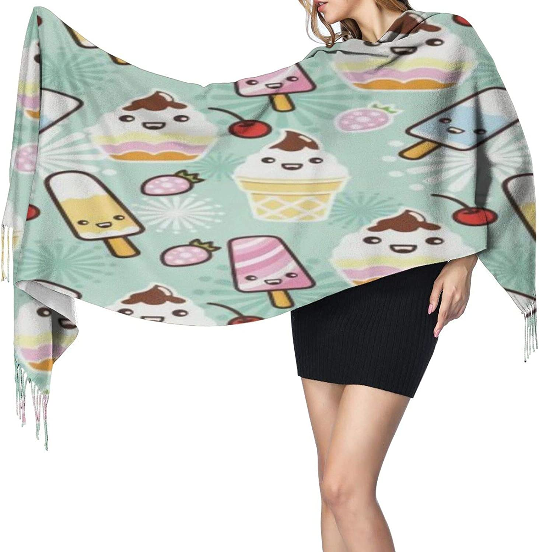 Cashmere fringed scarf cartoon ice cream winter extra large scarf