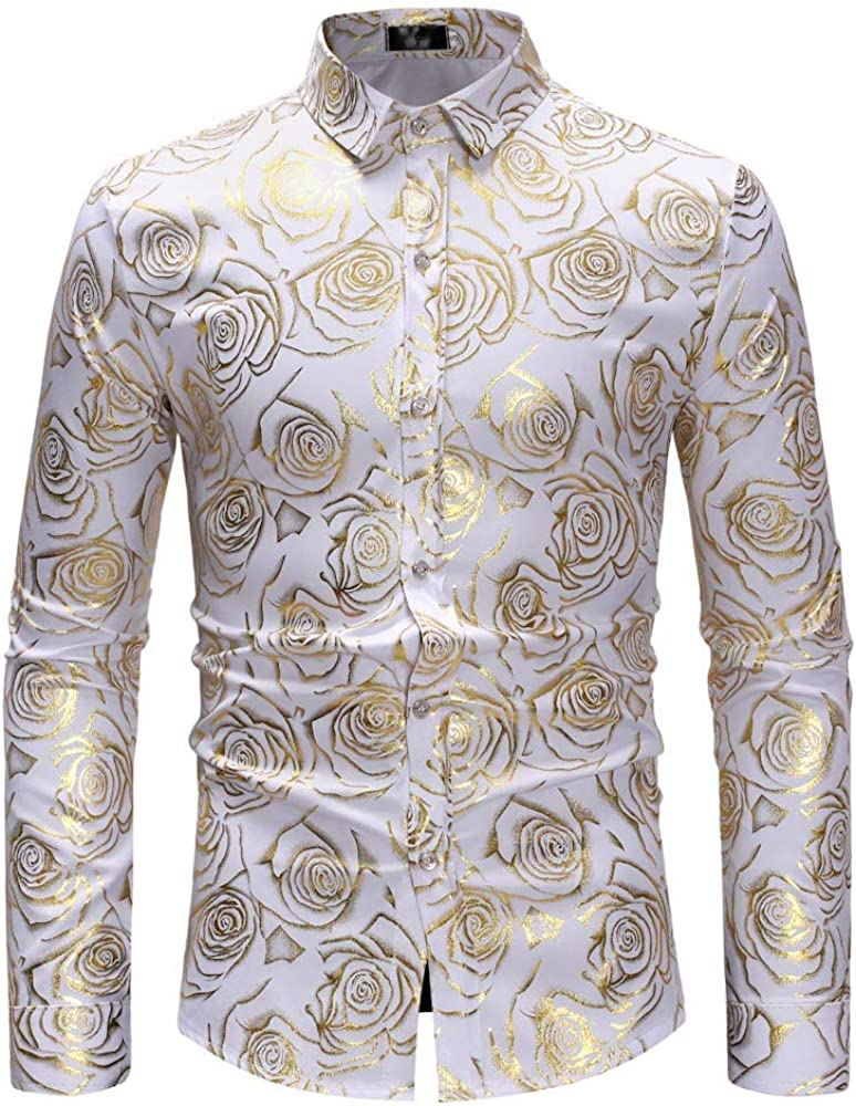 Internet-Camisa de Manga Larga con Estampado de Rosa Dorado con Cuello de Soporte pequeño de otoño e Invierno para Hombre(S-XL)