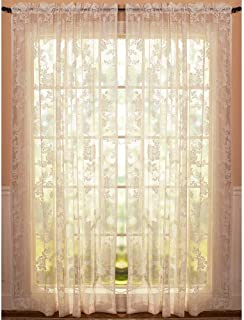 Abbey Rose Floral Lace Curtain (Ivory, 50