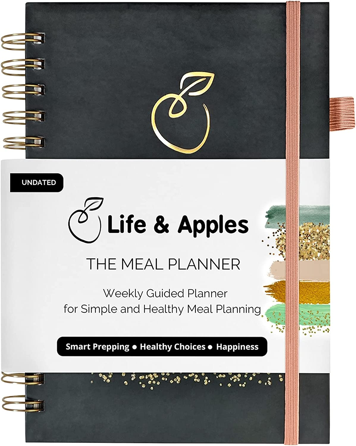 Life & Apples Meal Planner Notebook - Weekly Meal Prep Planner and Grocery List, with Recipe Card Pages and Expense Trackers - 52 Weeks, Hardcover Spiral Bound Book (Color Strokes)