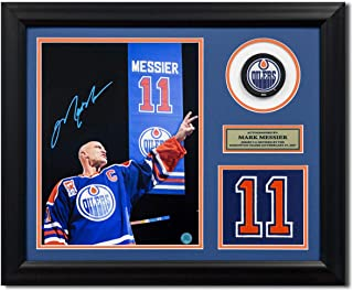 AJ Sports World Mark Messier Edmonton Oilers Autographed Retired Jersey Number 19x23 Frame