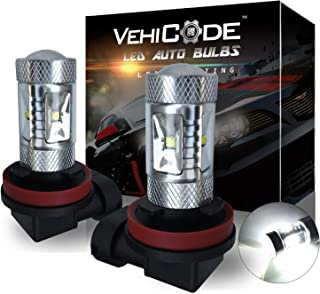 VehiCode 1300 Lumens H11 H9 H8 H16 (Type 2) (6000K Natural White) LED Fog Light Bulbs/Daylight (DRL) Conversion Kit - High Power 30W Cree X-BD - Projector Fanless Plug-N-Play Replacement (2 Pack)