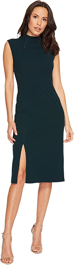 Sleeveless Scuba Crepe Midi Dress with Hardware