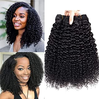 Luxnovolex Brazilian Kinky Curly Virgin Human Hair 9A Grade 100% Unprocessed Remy Human Hair Weave Extensions Natural Black Human Hair Weave (20 20 20)
