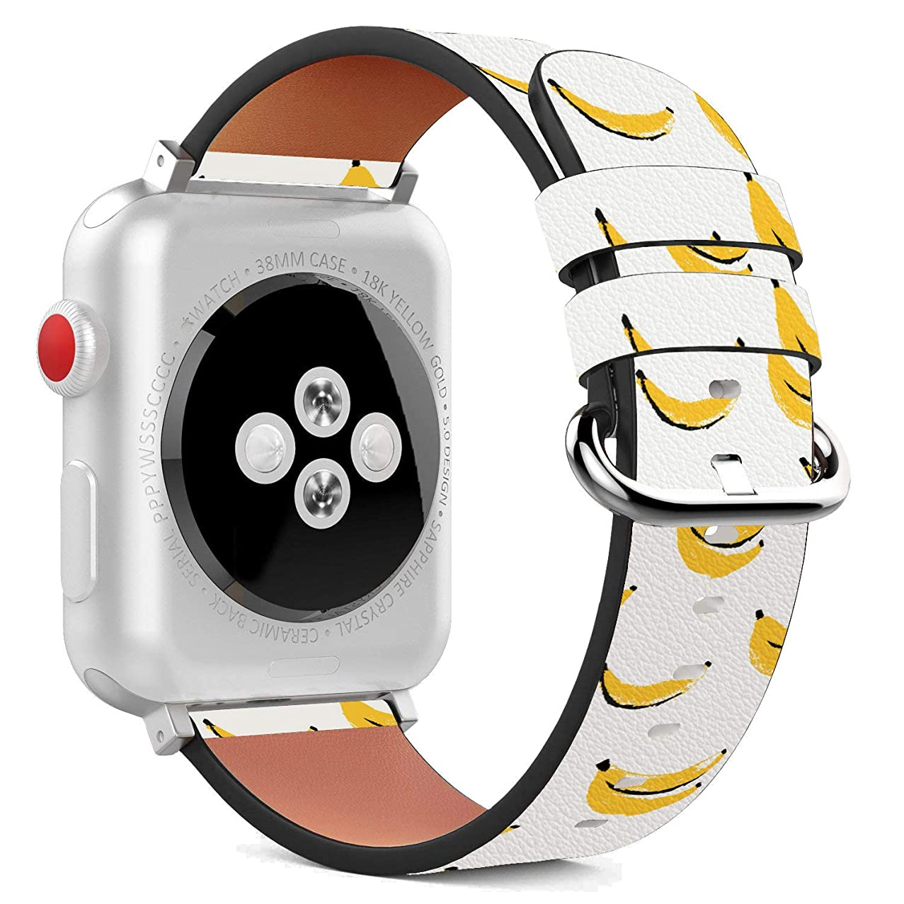Compatible with Apple Watch - 42mm Leather Wristband Bracelet with Stainless Steel Clasp and Adapters - Yellow Banana