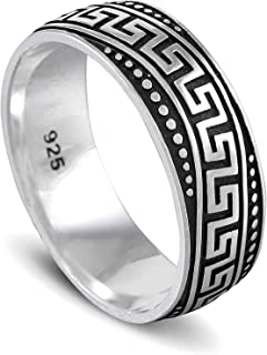 chimoda Mens Silver 8mm Band Ring with King Chain Motif in 925 Sterling