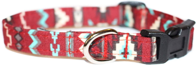 Red Albuquerque Mall Southwest Designer Cotton Elegant Dog F Collar Handmade Adjustable