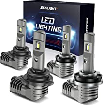 SEALIGHT H11/H9 Low Beam 9005/HB3 High Beam LED Headlight Bulbs Combo 1 by 1 Mini Design with Fan S2 Series CSP Chips 15000LM 6000K Xenon White IP67 Waterproof