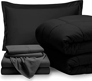 Bare Home Bed-in-A-Bag 5 Piece Comforter & Sheet Set - Twin Extra Long - Goose Down Alternative - Ultra-Soft 1800 Premium - Hypoallergenic - Breathable Bedding Set (Twin XL, Black/Grey)