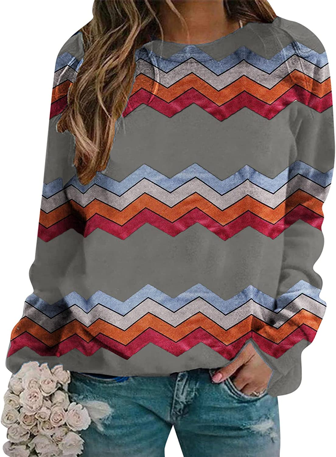 Womens Long Sleeve Tops,Womens Crewneck Striped Long Sleeve Fashion Sweatshirt Casual Tees Color Tunic Pullover Top