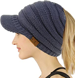 Ponytail Visor Brim Messy Bun BeanieTail Stretchy Knit Beanie Sun Hat