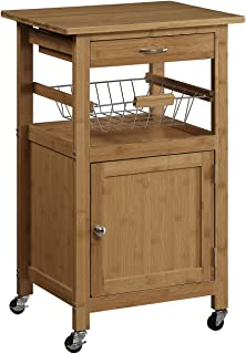 Organize It All Natural Bamboo Rolling Kitchen Storage Cart with Basket