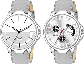 TULIPS FASHION Casual Designer Silver Dial Combo of Leather Watch - Pair of 2 - for Men's&Boy's