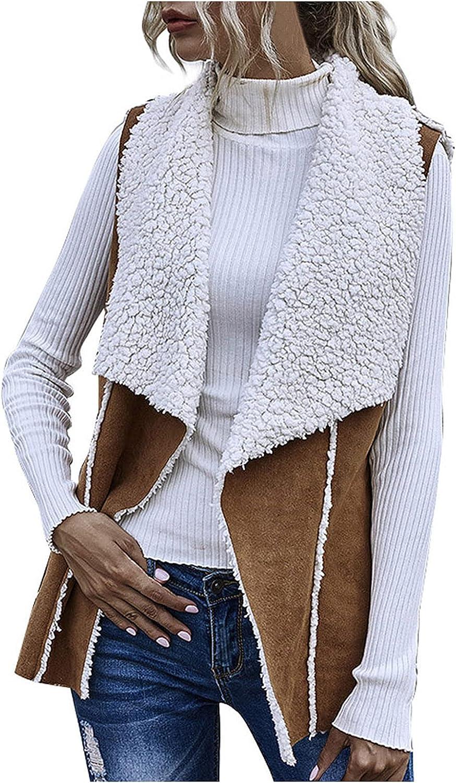 Womens Winter Coats,Women's Fashion Wear Solid Sleeveless Jacket Vest Reversible Suede Loose Cardigan Large Lapels Warm Tops