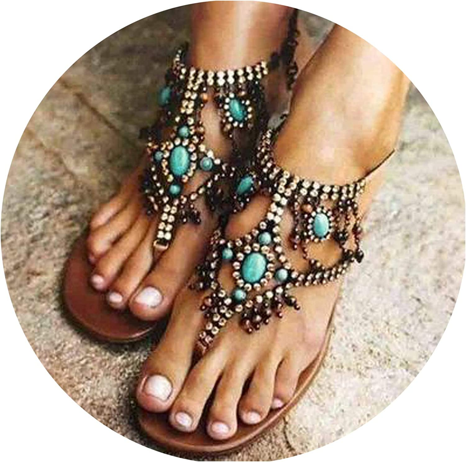 Casual Bohemian National Wind Beaded Pin Flat Sexy Women's Sandals Flat shoes Sandal