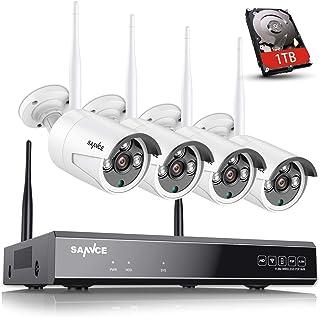 SANNCE Kit de Videovigilancia WiFi 8CH 1080P NVR con 1TB Disco Duro de Vigilancia (Instalado)+ CCTV 4 1080P Cámaras Sistema de Segiridad Inalámbrica, Acceso Remoto -1TB HDD