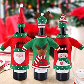 Aytai 3pcs Ugly Christmas Sweater Wine Bottle Cover, Handmade Wine Bottle Sweater for Christmas Decorations Ugly Christmas Sweater Party Decorations