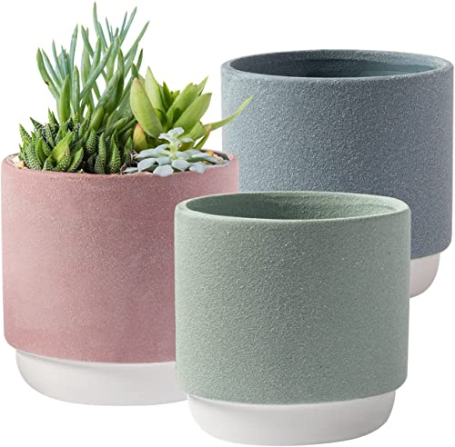 lowest Royal Imports Flower Pot Ceramic Vase, Decorative Planter for Indoor Outdoor Garden Windowsill, Without Drainage Hole, sale Set of 3, Green, Pink, online sale Grey sale