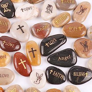 "RockImpact 50PCS Angel Guardian Angel Stones Serenity Prayer Pebble Engraved Inspirational Stones Motivational Healing Inspiring Rocks Encouragement Word Stones Wholesale Bulk, 2""-3"" ea"