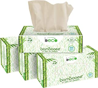 Beco Eco Friendly Bambooee Natural Facial Tissue Carbox - 100 Pulls (Pack of 4) Natural & Organic Bamboo Tissue Paper Box...