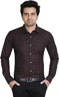 Fyster 100% Cotton Full Sleeve Regular Fit Formal Shirt for Men (Umber Brown)