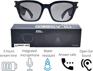 Bluetooth Audio Smart Sunglasses w/Microphone, Long Lasting Battery, Open Ear Directional Audio, Polarized UV Ray Protection Lenses by ImpactLast (Black Original)